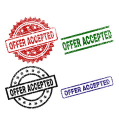Damaged textured offer accepted seal stamps vector