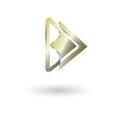 Delta arrow glossy 3d logo a vector
