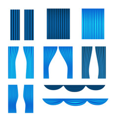 Different stage blue curtains collection vector