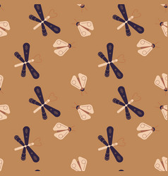 Dragonfly and firefly seamless pattern vector