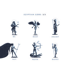 Egyptian gods set of emblems vector