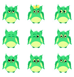 Emotions of green owls vector