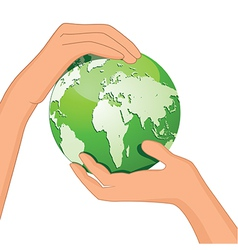Encourage hands save planet vector