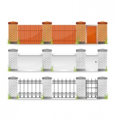 fences with gate vector image