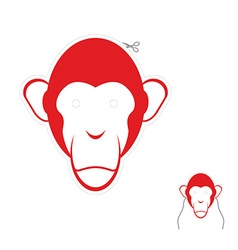 Festive red monkey mask Symbol of new year vector image