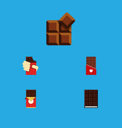 flat icon bitter set of dessert chocolate bar vector image