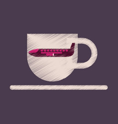 flat icon in shading style airplane cup of coffee vector image