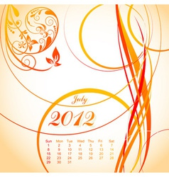 floral calendar 2012 july vector image