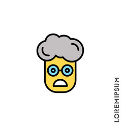 Frowning with open mouth yellow emoji boy vector