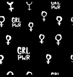 girl power venus quote lettering seamless pattern vector image