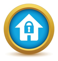 Gold lock house icon vector image