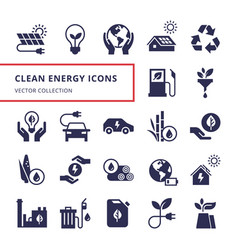 green energy icon set in flat style vector image
