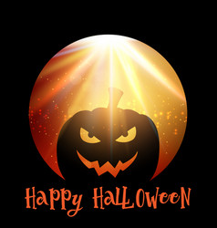 halloween background with spooky pumpkin vector image