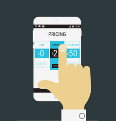 Hand selecting a product price on mobile device vector