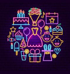 happy birthday neon concept vector image