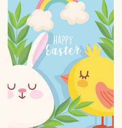 happy easter cute rabbit chicken rainbow leaves vector image