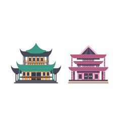 japanese or chinese traditional buildings set vector image