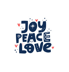 joy peace love hand drawn lettering vector image