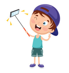 Kid using mobile device vector