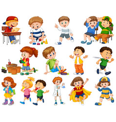 kids in large group acting our varoous roles vector image