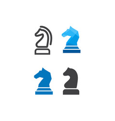 knight chess logo design template vector image