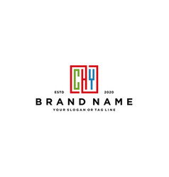 Letter chy square colorful logo design vector