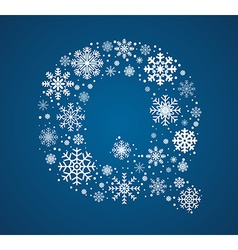 Letter Q font frosty snowflakes vector image
