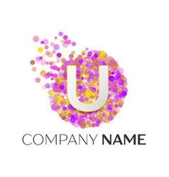Letter u logo with purle particles and bubble dots vector