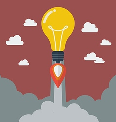 Lightbulb idea rocket vector image
