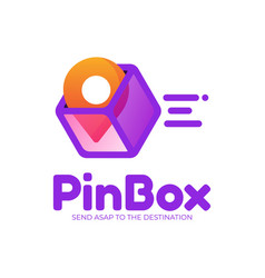 logo pin box gradient colorful style vector image