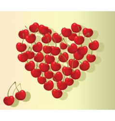 Love heart summer cherries vector image vector image