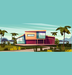 Luxury villa on tropical coast cartoon vector