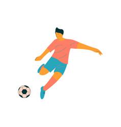male soccer player kicking ball footballer vector image