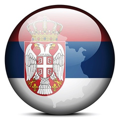 Map on flag button of Republic Serbia vector