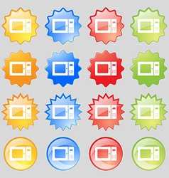 microwave icon sign Big set of 16 colorful modern vector image