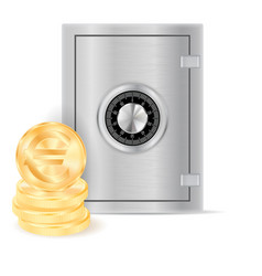 money safe box and golden coins vector image