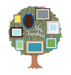 my family genealogy tree with retro frames on the vector image