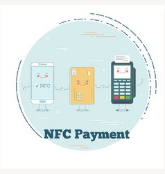 Nfc payment concept in line art style vector