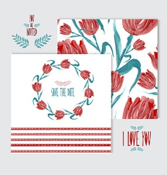 oil painted floral cards set vector image