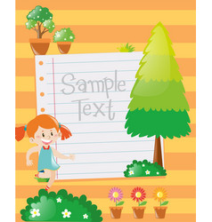 paper design with girl in garden background vector image