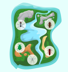 pest control over separate green island with river vector image