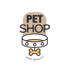 pet shop logo template design brown badge for vector image