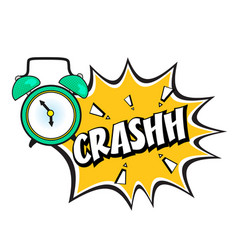 Pop art alarm clock ringing crashh image vector