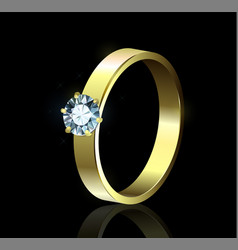 Ring with diamond on black background vector