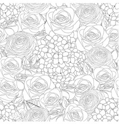 Rose hydrangea and ranunculus outline seamless vector