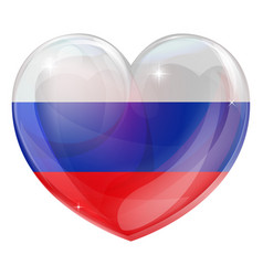 russian flag love heart vector image