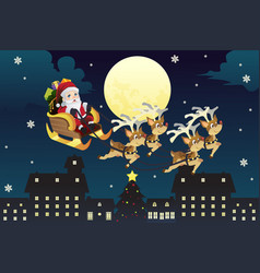 Santa riding sleigh with reindeers vector