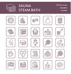 Sauna steam bath line icons bathroom equipment vector