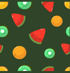 seamless pattern oranges kiwi and watermelon vector image