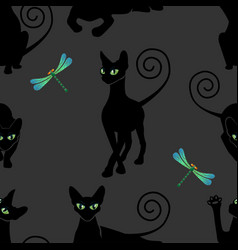 seamless pattern with black cats vector image vector image